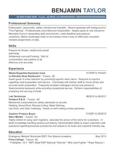 Waiter resume example Arizona