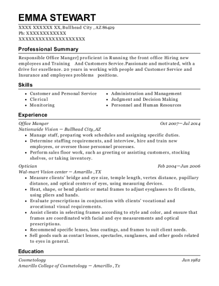 Office Manger resume example Arizona