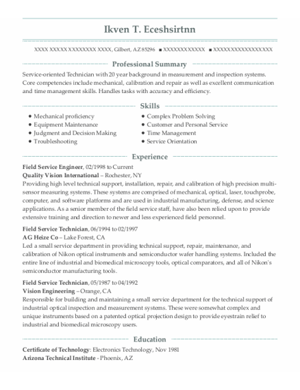 Field Service Engineer resume example Arizona