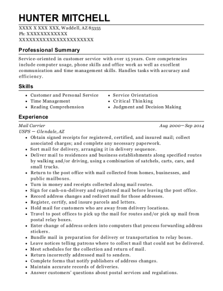 Mail Carrier resume template Arizona