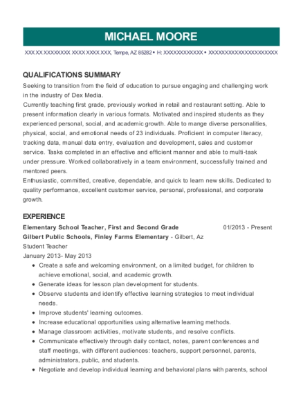 Elementary School Teacher resume format Arizona
