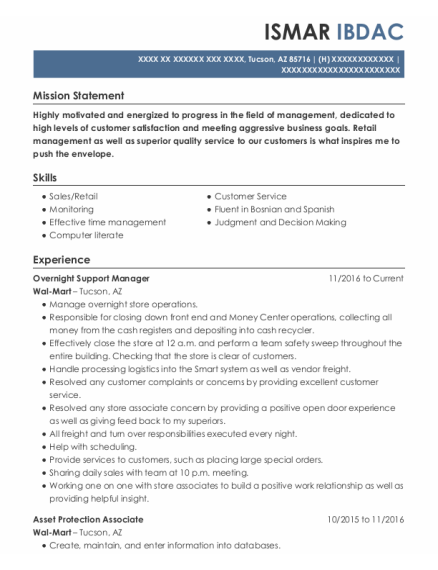 Overnight Support Manager resume template Arizona
