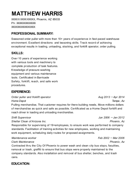 Order puller and froklift operator resume template Arizona