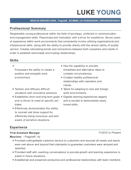 First Assistant Manager resume template Arizona