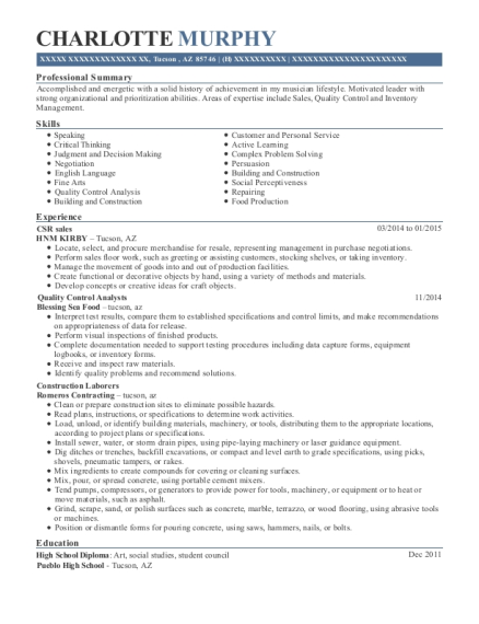 CSR sales resume example Arizona