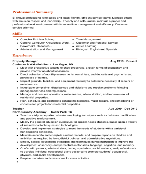 Property Manager resume sample Arizona