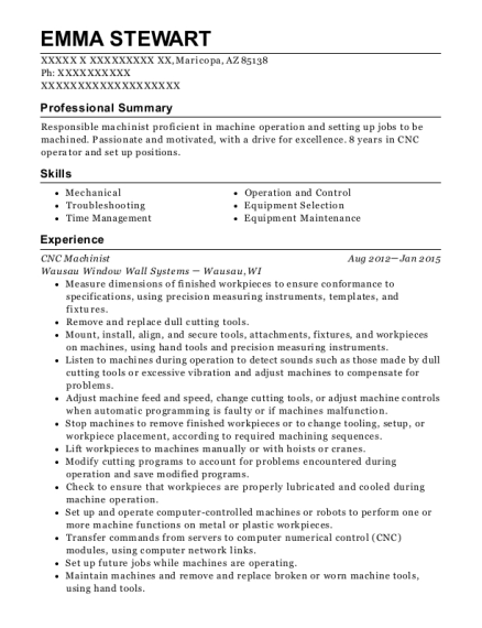 CNC Machinist resume example Arizona