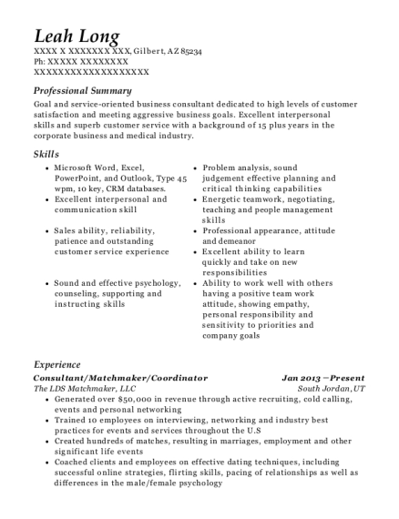 Consultant resume template Arizona