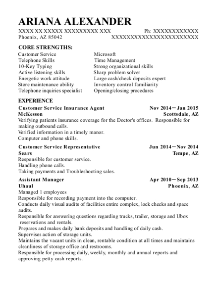 Customer Service Insurance Agent resume sample Arizona