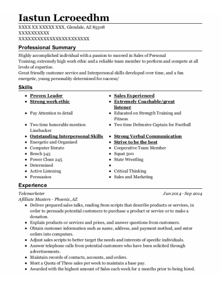 Telemarketer resume format Arizona