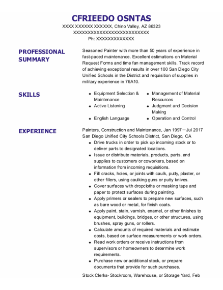 Painters Assistant resume template Arizona