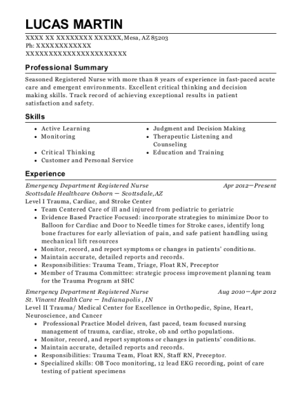 Emergency Department Registered Nurse resume sample Arizona