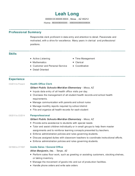 Health Office Clerk resume sample Arizona