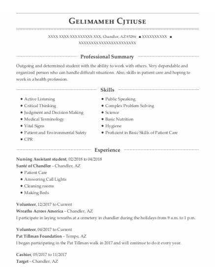 Nursing Assistant Student resume format Arizona
