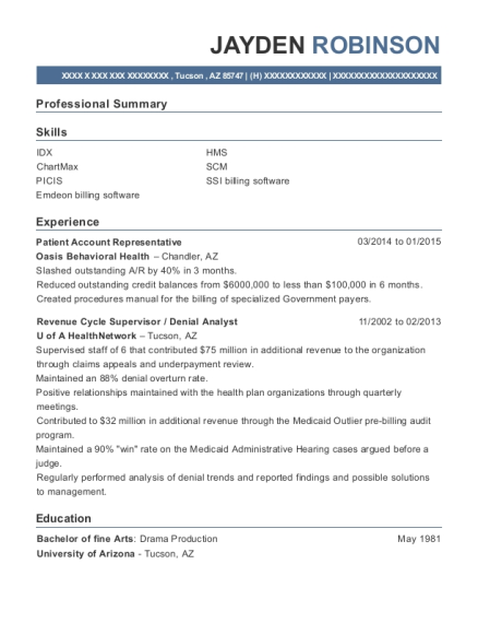 Patient Account Representative resume example Arizona