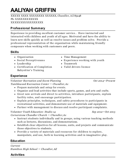 Volunteer Recreation and Event Planning resume template Arizona