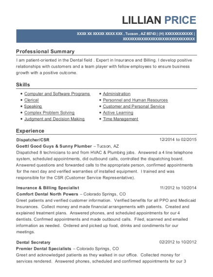 Dispatcher resume format Arizona