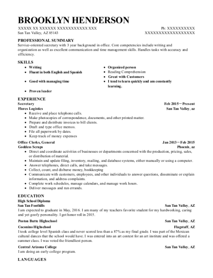 Secretary resume template Arizona