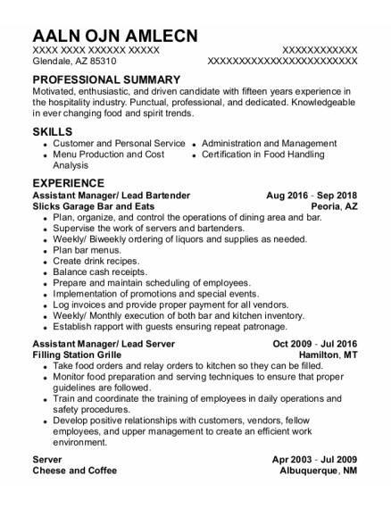 Assistant Manager resume template Arizona