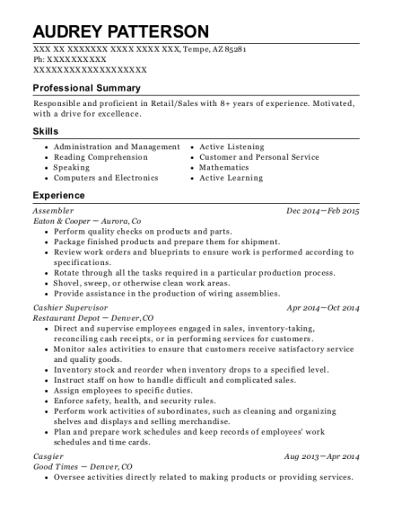 Assembler resume sample Arizona