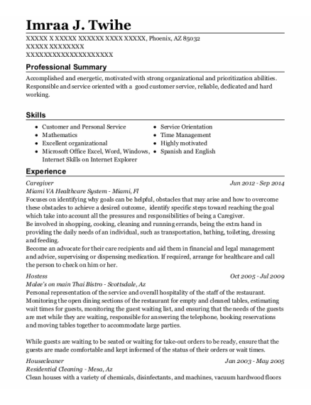Caregiver resume example Arizona
