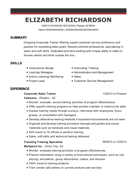 Corporate Sales Trainer resume sample Arizona