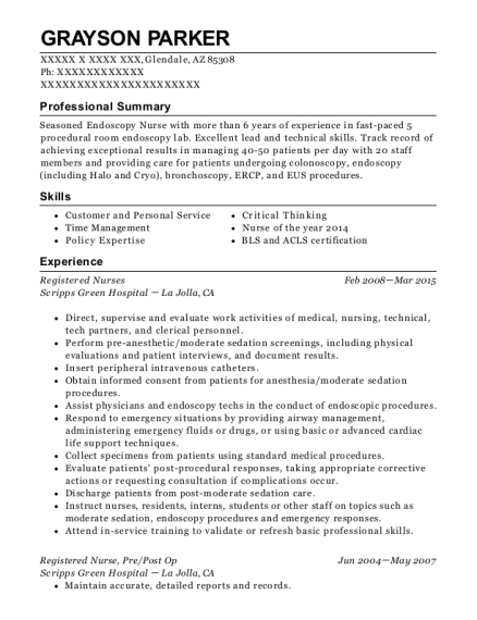Registered Nurses resume example Arizona