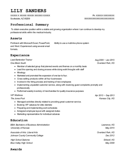 Lead Bartender resume sample Arizona