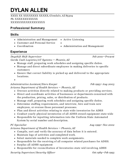 Dayshift Shift Supervisor resume template Arizona