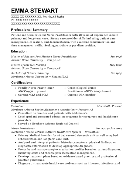 Volunteer resume example Arizona