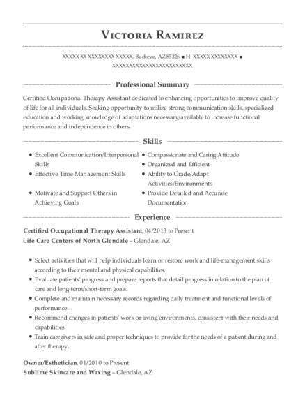 Certified Occupational Therapy Assistant resume sample Arizona