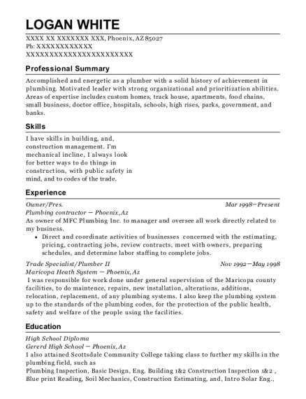 Owner resume format Arizona