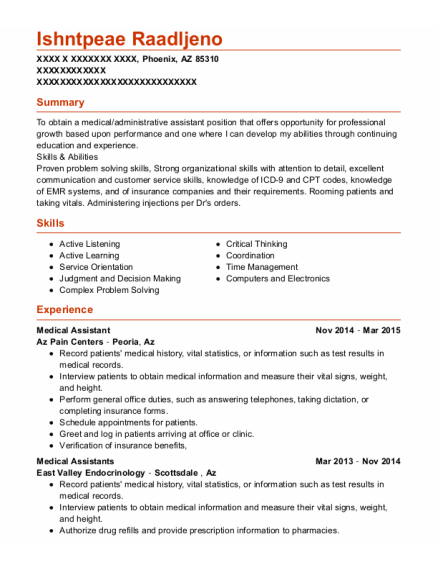 Medical Assistant resume format Arizona