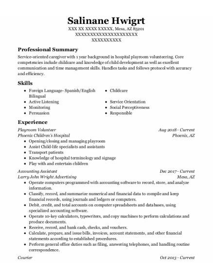 Accounting Assistant resume sample Arizona