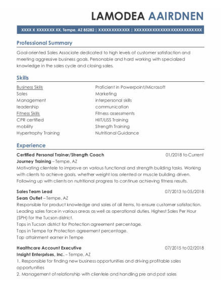 Certified Personal Trainer resume example Arizona