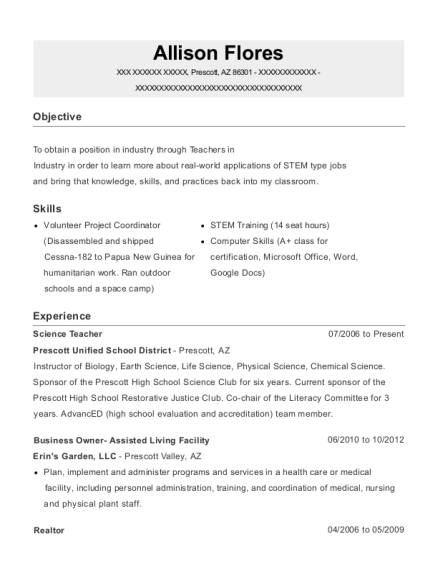 Science Teacher resume format Arizona