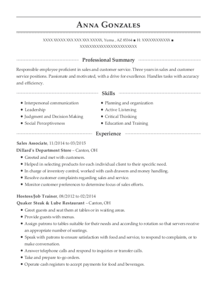 Sales Associate resume template Arizona