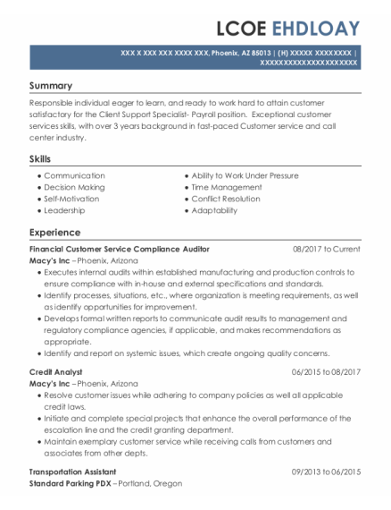 Credit Analyst resume format Arizona