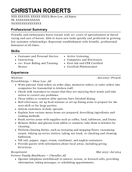 Waitress resume example Arizona