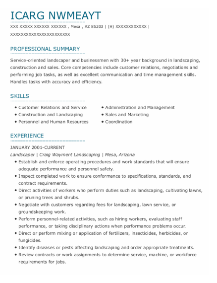 Landscaper resume example Arizona