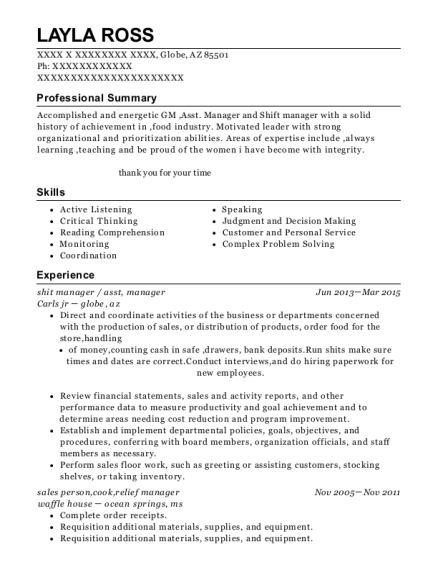 shit manager resume sample Arizona