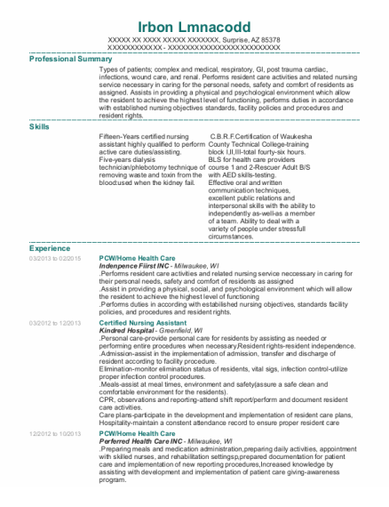 PCW resume example Arizona