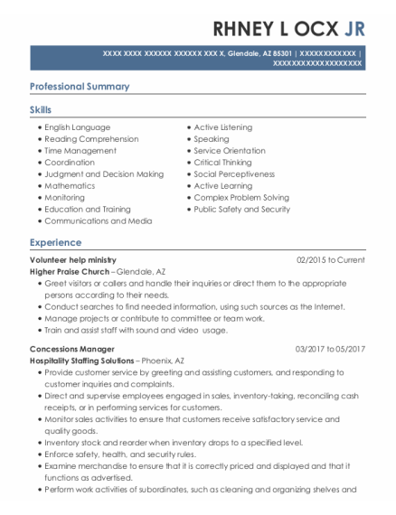 Concessions Manager resume template Arizona