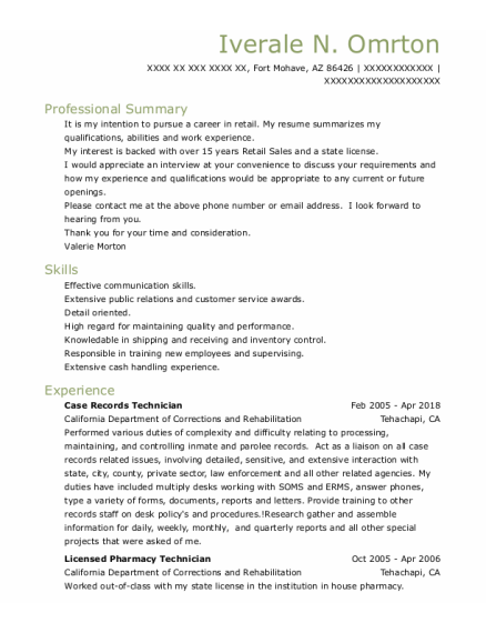 Licensed Pharmacy Technician resume template Arizona