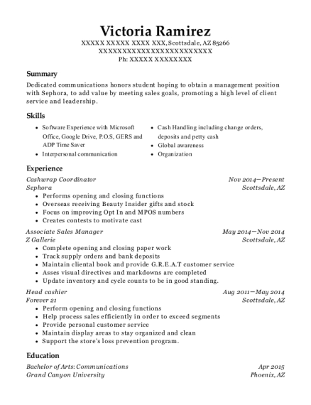 Cashwrap Coordinator resume template Arizona