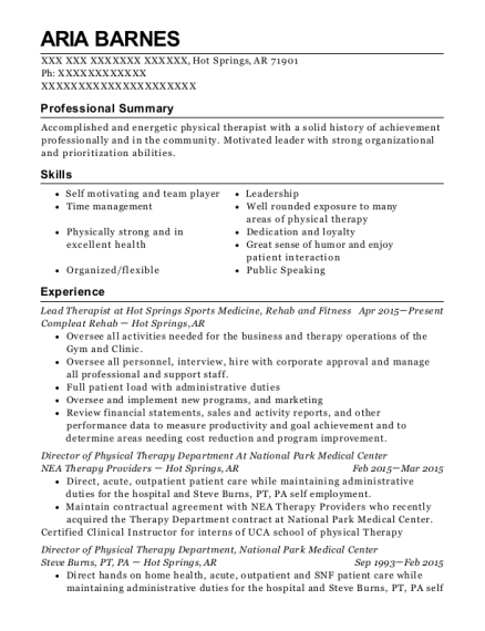 Lead Therapist at Hot Springs Sports Medicine resume template Arkansas