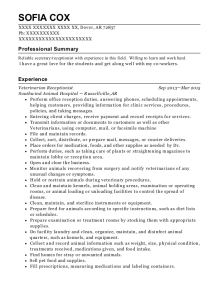 Veterinarian Receptionist resume format Arkansas