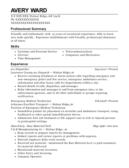 911 Dispatcher resume template Arkansas