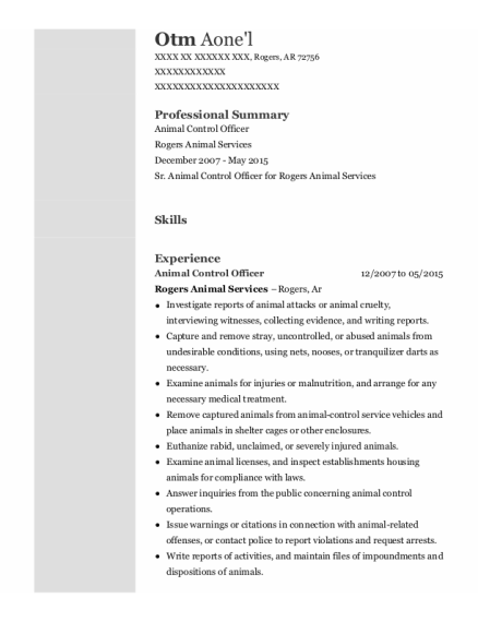 Animal Control Officer resume sample Arkansas