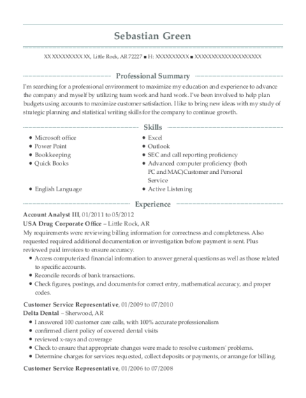 Account Analyst III resume format Arkansas